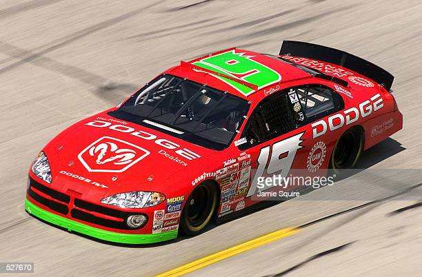 Casey Atwood driver of the Evernham Motorsports Dodge Intrepid R/T in action during practice for the EA Sports 500 at Talladega Superspeedway in...
