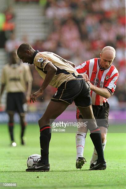 Chris Marsden of Southampton is sent off for this tackle on Patrik Vieira of Arsenal during FA Barclaycard Premiership macth between Southampton and...