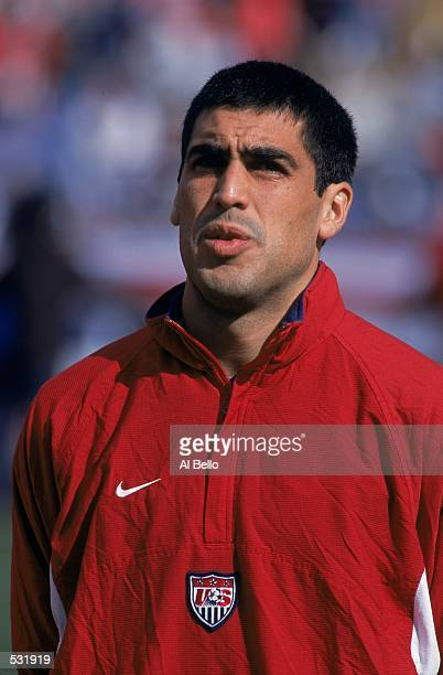 Claudio Reyna of the USA looks on during the World Cup Qualification game against Jamaica at the Foxboro Stadium in Foxboro Massachusetts The USA...