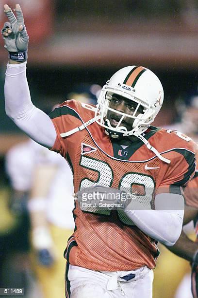 Clinton Portis of Miami celebrates his third quarter touchdown against West Virginia during the game at the Orange Bowl in Miami, Florida. The...