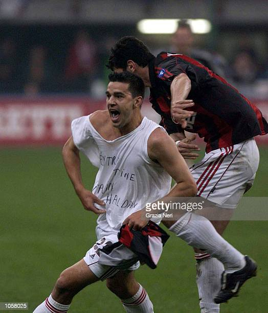 Cosmin Contra of AC Milan celebrates scoring during the Serie A match between Inter Milan and AC Milan played at the Guiseppe Meazza Stadium San Siro...