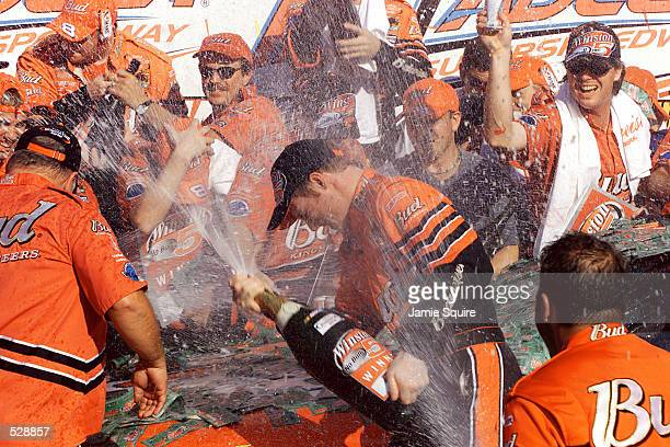Dale Earnhardt Jr celebrates with his team in Victory Lane after winning Sunday's EA Sports 500 at Talladega Superspeedway in Talladega Alabama...