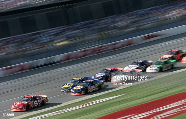 Dale Earnhardt Jr driver of the Budweiser Chevrolet Monte Carlo in action on his way to winning Sunday's EA Sports 500 at Talladega Superspeedway in...