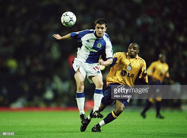 Damien Johnson of Blackburn Rovers gets ahead of Andy Impey of Leicester City during the FA Barclaycard Premiership match played at Ewood Park in...