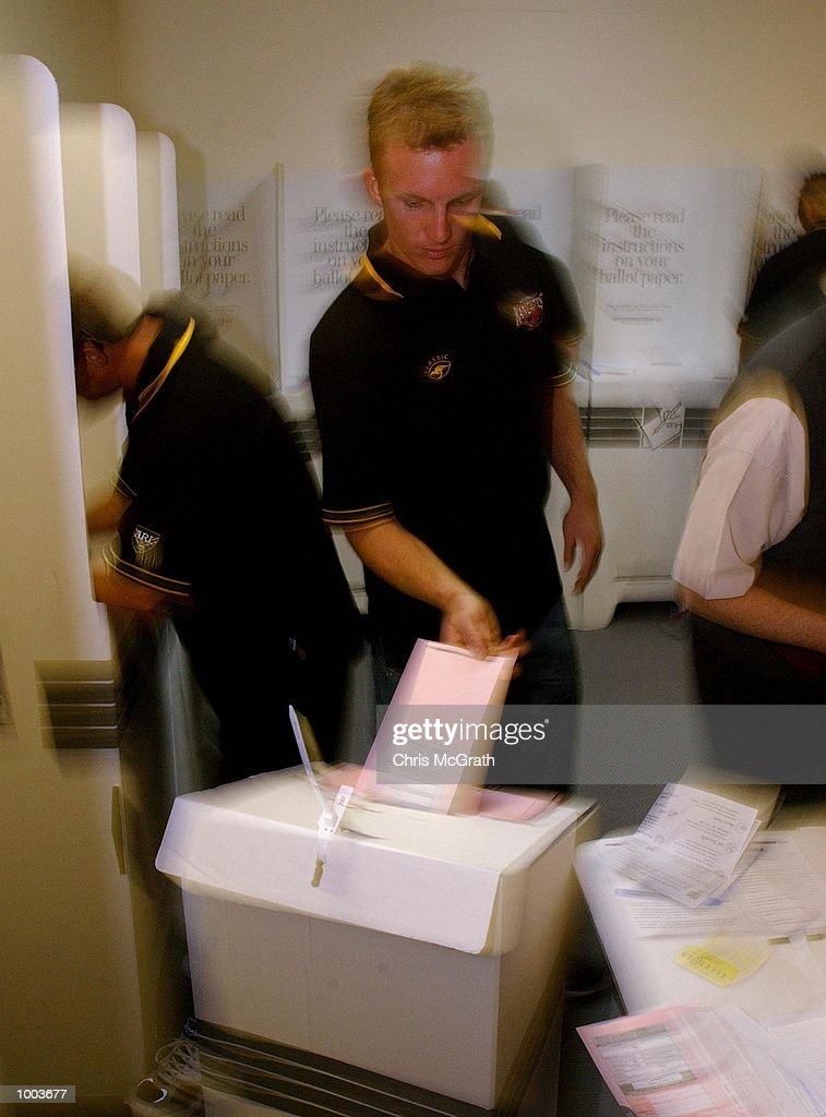 Darren Lockyer casts his Australian Federal Election vote at the pre Poll voting office before leaving on the Kangaroo Tour of England. Voting was held at Eastern gardens, Sydney, Australia. DIGITAL IMAGE Mandatory Credit: Chris McGrath/ALLSPORT