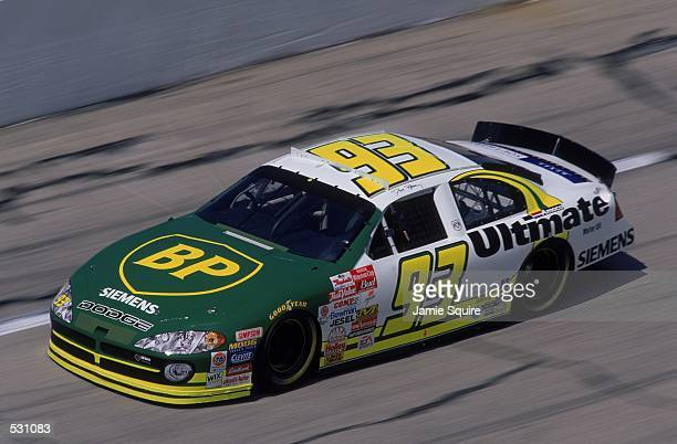 Dave Blaney pulls into a turn during the EA Sports 500 part of the NASCAR Winston Cup Series at the Talladega Superspeedway in Talladega...