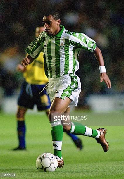 Denilson of Betis dribbles the ball during the Primera Liga match between Real Betis and Villarreal played at the Ruiz de Lopera Stadium in Sevilla...