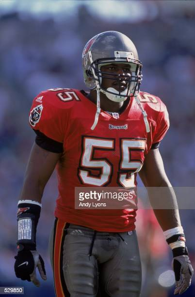 Derrick Brooks of the Tampa Bay Buccaneers watches the action during the game against the Tennessee Titans at Adelphia Coliseum in Nashville...