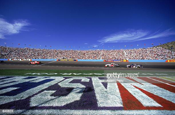Detail of the NASCAR logo on the infield at the Checker Auto Parts 500 at Phoenix International Raceway in Phoenix Arizona
