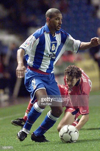 Djalminha of Deportivo La Coruna in action during the Primera Liga game between Deportivo La Coruna and Sevilla at the Riazor Stadium La Coruna...
