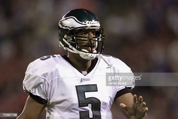 Donovan McNabb of the Philadelphia Eagles looks on during the game against the New York Giants at Giants Stadium at the Meadowlands in East...