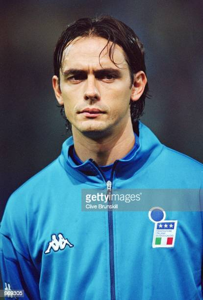 Filippo Inzaghi of Italy lines up prior to the FIFA 2002 World Cup Group Eight Qualifying match against Hungary played at the Ennio Tardini Stadium...