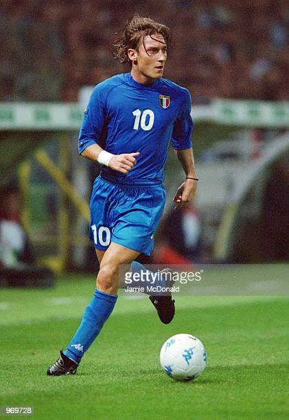Francesco Totti of Italy in action during the FIFA 2002 World Cup Qualifier against Hungary played at the Ennio Tardini Stadium in Parma Italy Italy...