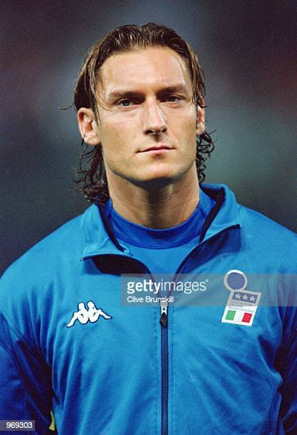 Francesco Totti of Italy lines up prior to the FIFA 2002 World Cup Group Eight Qualifying match against Hungary played at the Ennio Tardini Stadium...