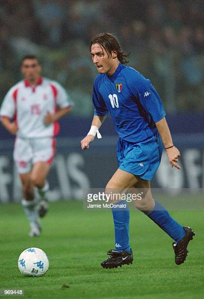 Francesco Totti of Italy on the ball during the FIFA 2002 World Cup Qualifier against Hungary played at the Ennio Tardini Stadium in Parma Italy...