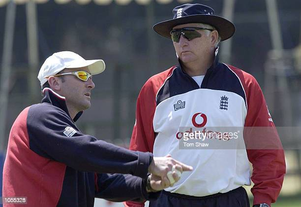 Graham Thorpe of England has a chat with Duncan Fletcher the England coach during the England nets session at the Harare Sports Ground Harare...