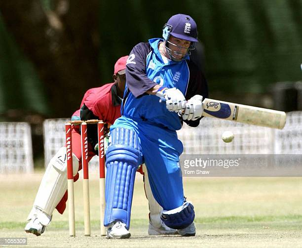 Graham Thorpe of England hits out during the Zimbabwe A v England One Day game at the Alexander Sports Ground Harare Zimbabwe DIGITAL IMAGE Mandatory...