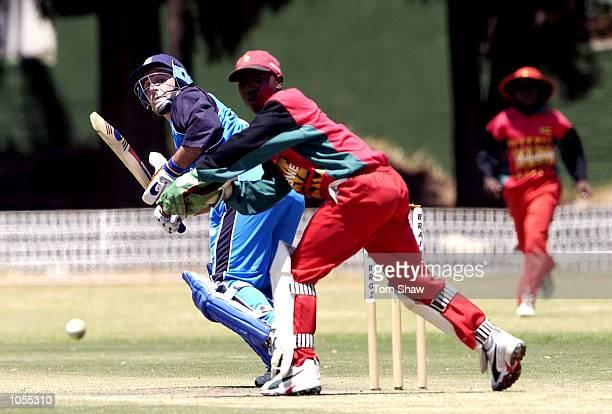 Graham Thorpe of England hits out during the Zimbabwe A v England One Day game at the Alexander Sports Ground Harare Zimbabwe DIGITAL IMAGE Mandatory...