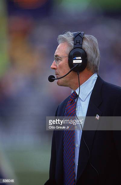 Head Coach John Mackovic of the Arizona Wildcats watches the action during the game against the Washington Huskies at the Husky Stadium in Seattle...