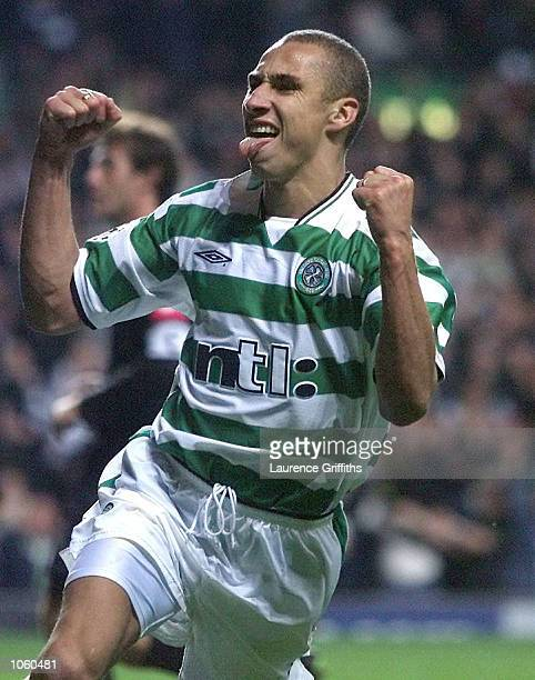 Henrik Larsson of Celtic celebates his penalty during the Champions League game between Celtic and Juventus at Celtic Park Glasgow DIGITAL IMAGE...
