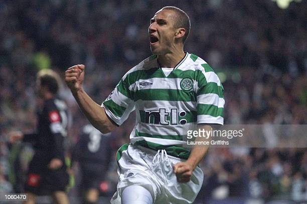 Henrik Larsson of Celtic celebrates scoring his penalty during the Champions League game between Celtic and Juventus at Celtic Park Glasgow DIGITAL...