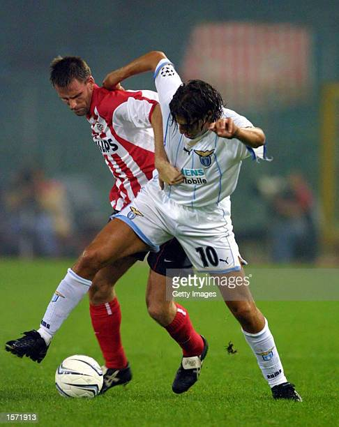 Hernan Crespo of Lazio in action during the Champions League match played between Lazio and PSV Eindhoven at the Olympic Stadium in Rome Italy...