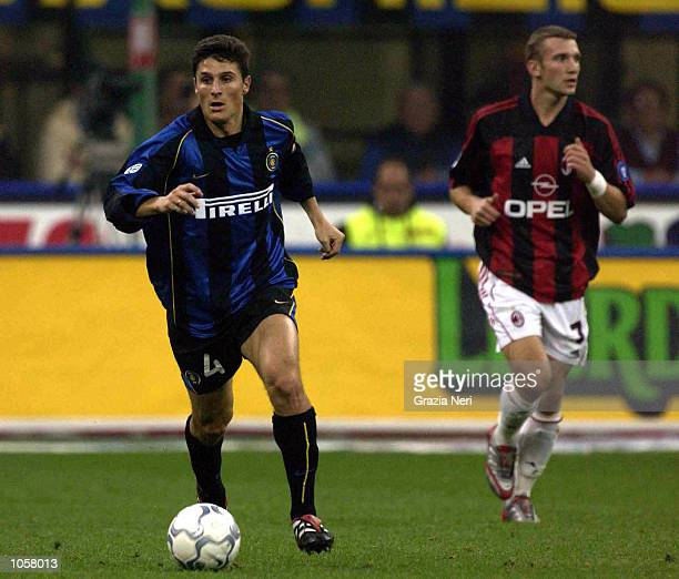Javier Zanetti of Inter Milan in action during the Serie A match between Inter Milan and AC Milan played at the Guiseppe Meazza Stadium San Siro...