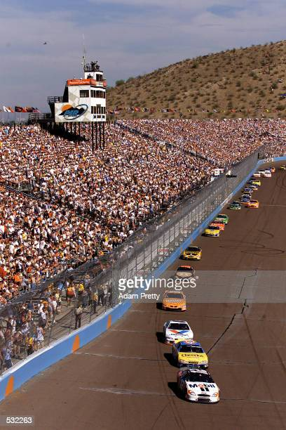Jeremy Mayfield in his Ford Taurus leads the race during the NASCAR Checker Auto Parts 500 part of the NASCAR Winston Cup at the Phoenix...