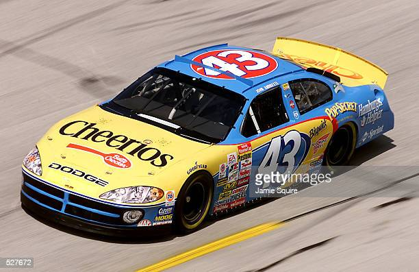 John Andretti driver of the Petty Enterprises Dodge Intrepid R/T in action during practice for the EA Sports 500 at Talladega Superspeedway in...