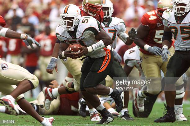Jonathan Vilma of Miami runs with the ball during the game against Florida State at Doak Campbell Stadium in Tallahassee, Florida. Miami won 49-27....