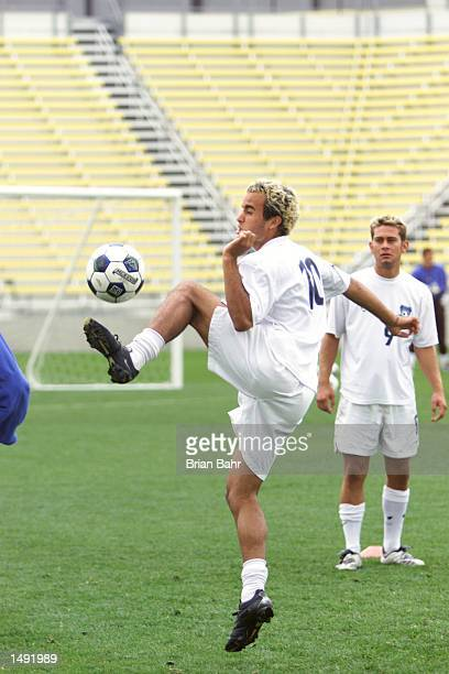 Landon Donovan of the San Jose Earthquakes intercepts the ball during practice drills in preparation for the MLS Cup Sunday against the Los Angeles...