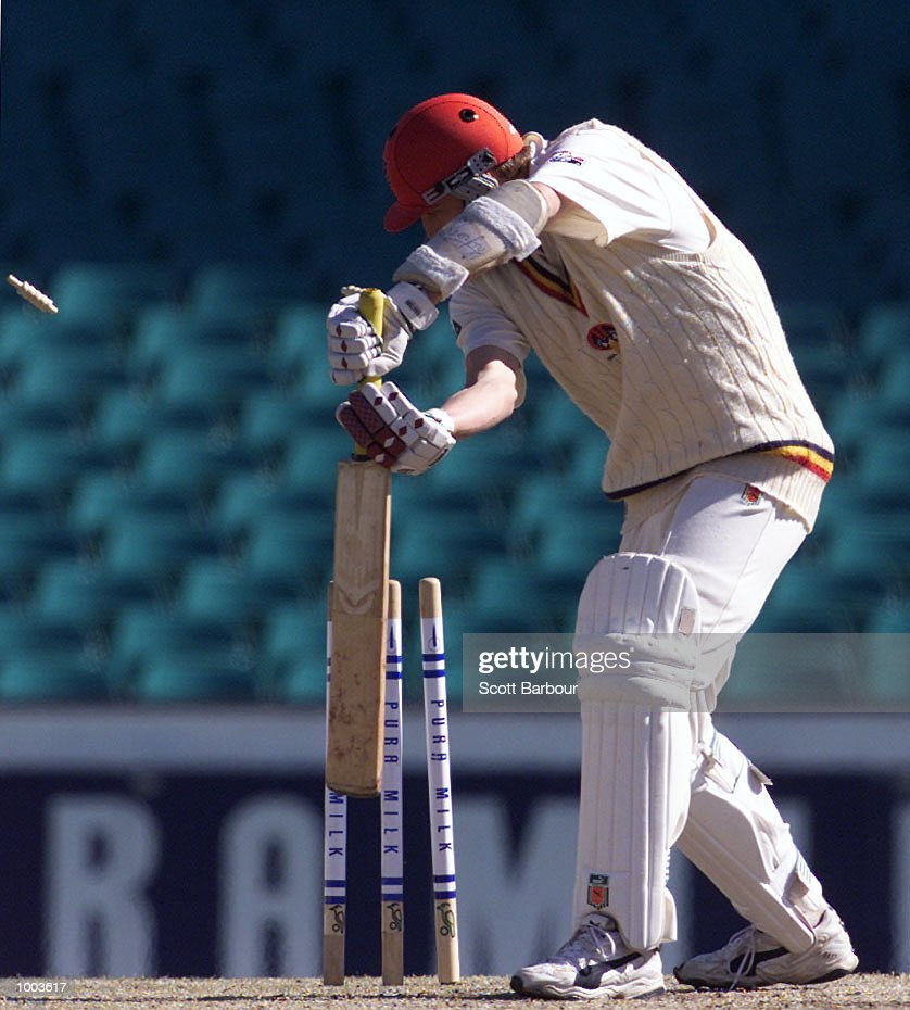 Last man out Mark Harrity of South Australia is bowled by Nathan Bracken of New South Wales during Day 3 of the Pura Cup match at the Sydney Cricket Ground in Sydney, Australia. DIGITAL IMAGE. Mandatory Credit: Scott Barbour/ALLSPORT