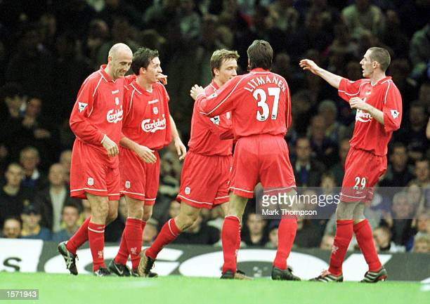 Liverpool team celebrate scoring during the match between Leicester City and Liverpool in the Barclaycard Premiership at Filbert Street Leicester...