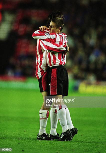 Marian Pahars of Southampton celebrates scoring a goal during the FA Barclaycard Premiership match between Southampton and Ipswich Town played at St...