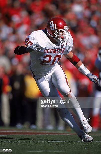 Mark Clayton of the Oklahoma Sooners moves to tackle during the game against the Nebraska Cornhuskers at Memorial Sadium in Lincoln Nebraska The...