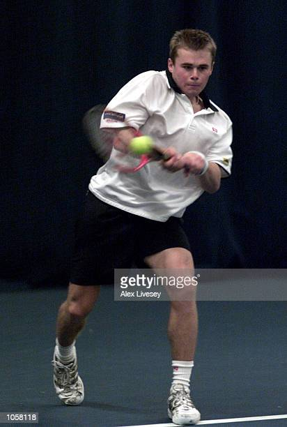 Mark Hilton in action during his first round victory over Colin Bennett at the National Tennis Championships at the Bolton Arena, Bolton. Hilton won...