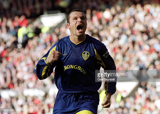 Mark Viduka of Leeds celebrates scoring during the match between Manchester United and Leeds United in the FA Barclaycard Premiership at Old Trafford...