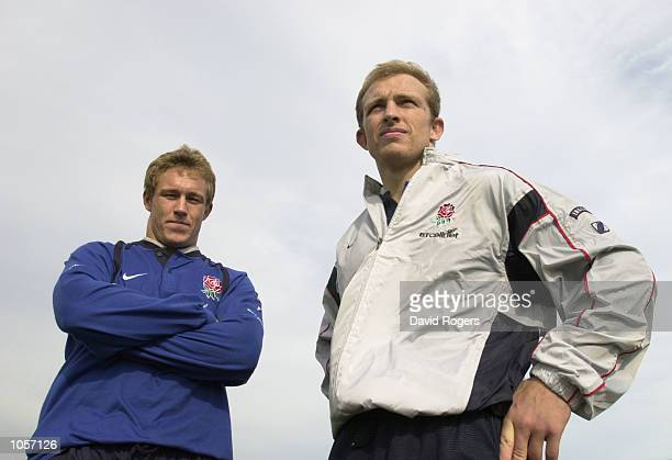 Matt Dawson the England captain with his half back partner standoff Jonny Wilkinson pictured prior to Saturdays Six Nations match against Ireland...