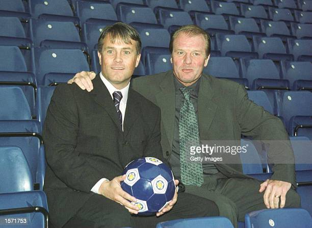 Micky Adams and new Leicester Manager Dave Bassett pose for photographers in the stands during a press conference at Filbert Street Leicester...
