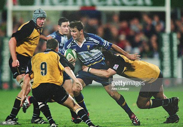 Nathan Spooner of Leinster in action during the 2001/02 Heineken Cup match against Newcastle played at Donnybrook in Dublin Ireland Leinster won the...