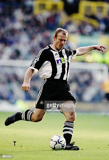 Newcastle Captain Alan Shearer in action during the FA Barclaycard Premiership match between Everton and Newcastle United played at Goodison Park in...