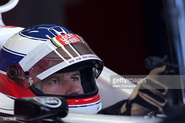 Olivier Panis of France and BAR in his garage during qualifying for the Japanese Grand Prix at The Suzuka Circuit Japan DIGITAL IMAGE Mandatory...