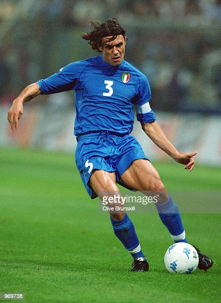 Paolo Maldini of Italy on the ball during the FIFA 2002 World Cup Qualifier against Hungary played at the Ennio Tardini Stadium in Parma Italy Italy...