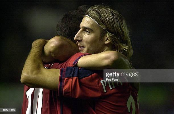 Pipa Gancedo and Punal of Osasuna celebrate during the Osasuna and Mallorca Spanish Primera Liga match played at the El Sadar Stadium in Pamplona...