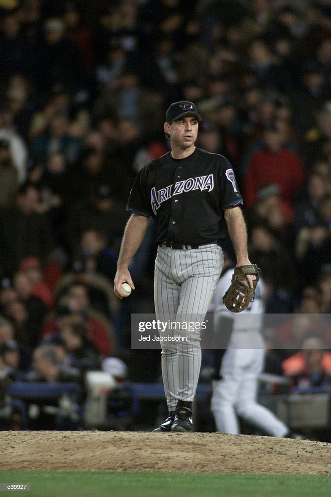 Pitcher Mike Morgan #36 of the Arizona Diamondbacks walks onto the mound during game 3 of the World Series against the New York Yankees at Yankee Stadium in New York, New York. The Yankees defeated the Diamondbacks 2-1. DIGITAL IMAGE Mandatory Credit: Jed Jacobsohn/ALLSPORT