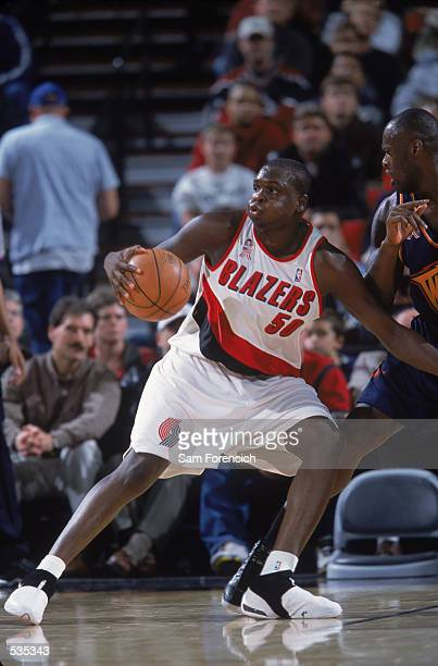 Portland Trailblazers forward Zach Randolph makes a move in the post during the preseason game against the Golden State Warriors at the Rose Garden...