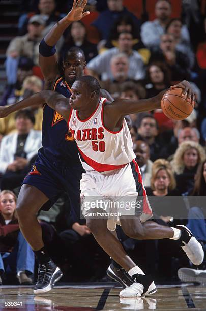 Portland Trailblazers forward Zach Randolph makes a move to the middle during the preseason game against the Golden State Warriors at the Rose Garden...