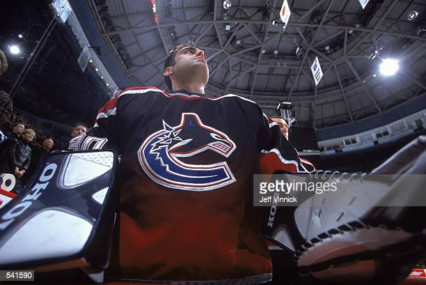 Portrait of goaltender Martin Brochu of the Vancouver Canucks during the NHL game against the Colorado Avalanche at General Motors Place in Vancouver...