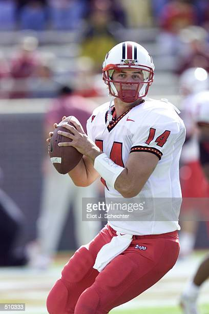 Quarterback Shaun Hill of Maryland winds up to throw a pass during the game against Florida State at Doak Campbell Stadium in Tallahassee Florida...