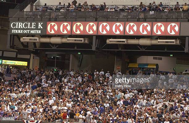 Randy Johnson's of the Arizona Diamondbacks strike out signs are posted during game two of the Major League Baseball World Series between the Arizona...